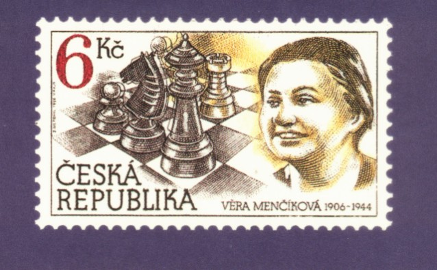 Vera Menchik commemorated on a postage stamp from the Czech Republic