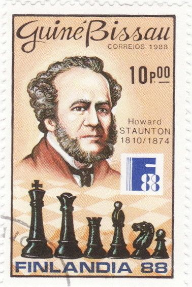 A stamp printed in Guinea-Bissau shows Howard Staunton, Chess players serie, circa 1988