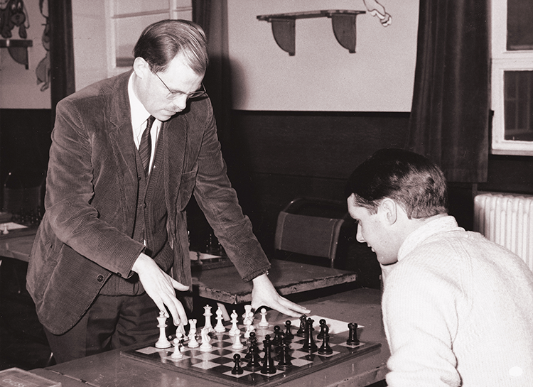 On 14th December, 1968, Bernard gave a simultaneous exhibition held at Anglesey School, Burton. He played 17, won 16 and lost 1 to Trevor Bould who was already Burton Champion, photograph from http://www.derbyshirechess.btck.co.uk/History/Exhibitions, photographer unknown