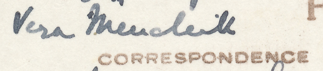 "Signature of Vera Menchik from a Brian Reilly ""after dinner"" postcard from Margate 1936."