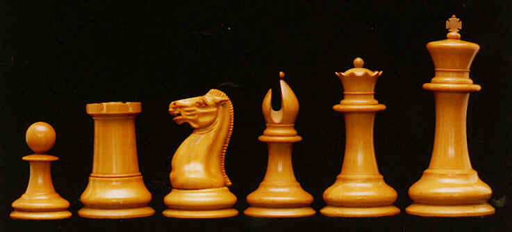Original Staunton chess pieces, left to right: pawn, rook, knight, bishop, queen, and king. Photo used by permission of Frank A. Camaratta, Jr.; The House of Staunton, Inc.; houseofstaunton.com