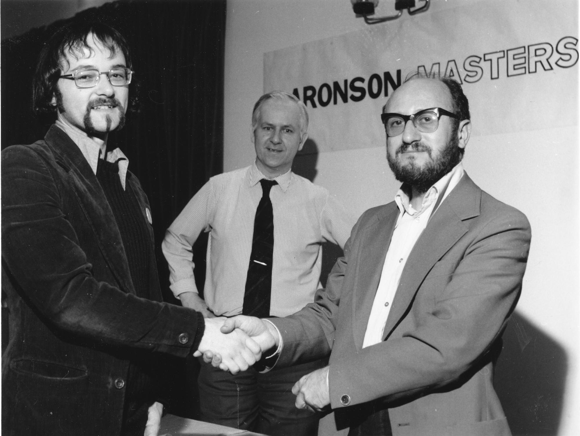 Robert Bellin with Leonard Barden and Stewart Reuben at the 1978 Aaronson Masters in London