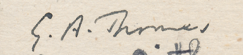 "Signature of GA Thomas from a Brian Reilly ""after dinner"" postcard from Hastings Christmas Congress, 1945-1946"