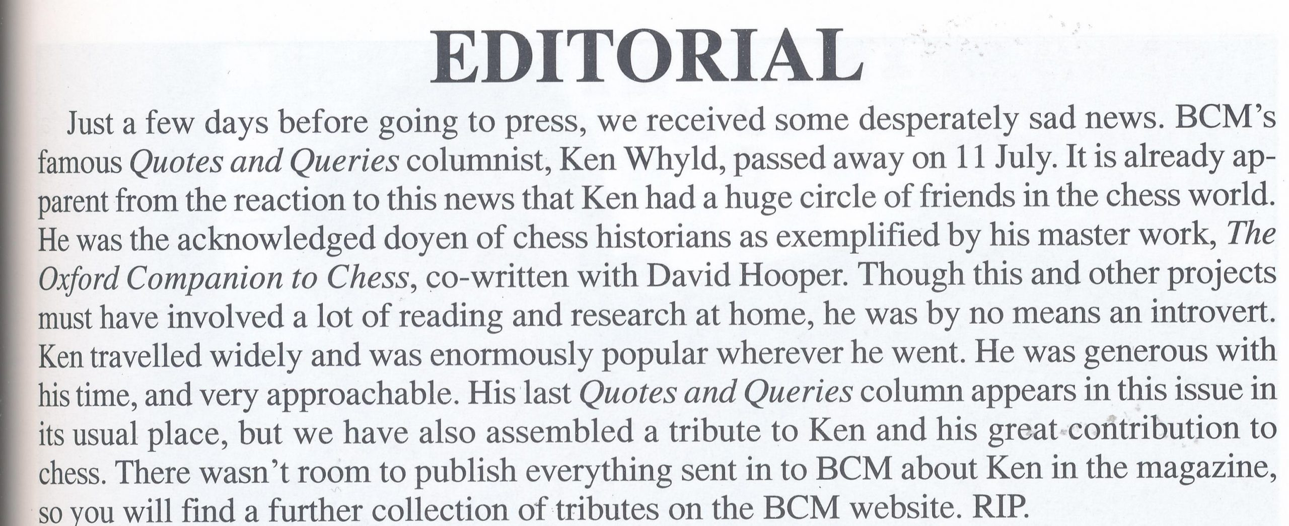 Editorial from British Chess Magazine, Volume CXXIII (123), Number 8 (August), page 395 by Editor, John Saunders