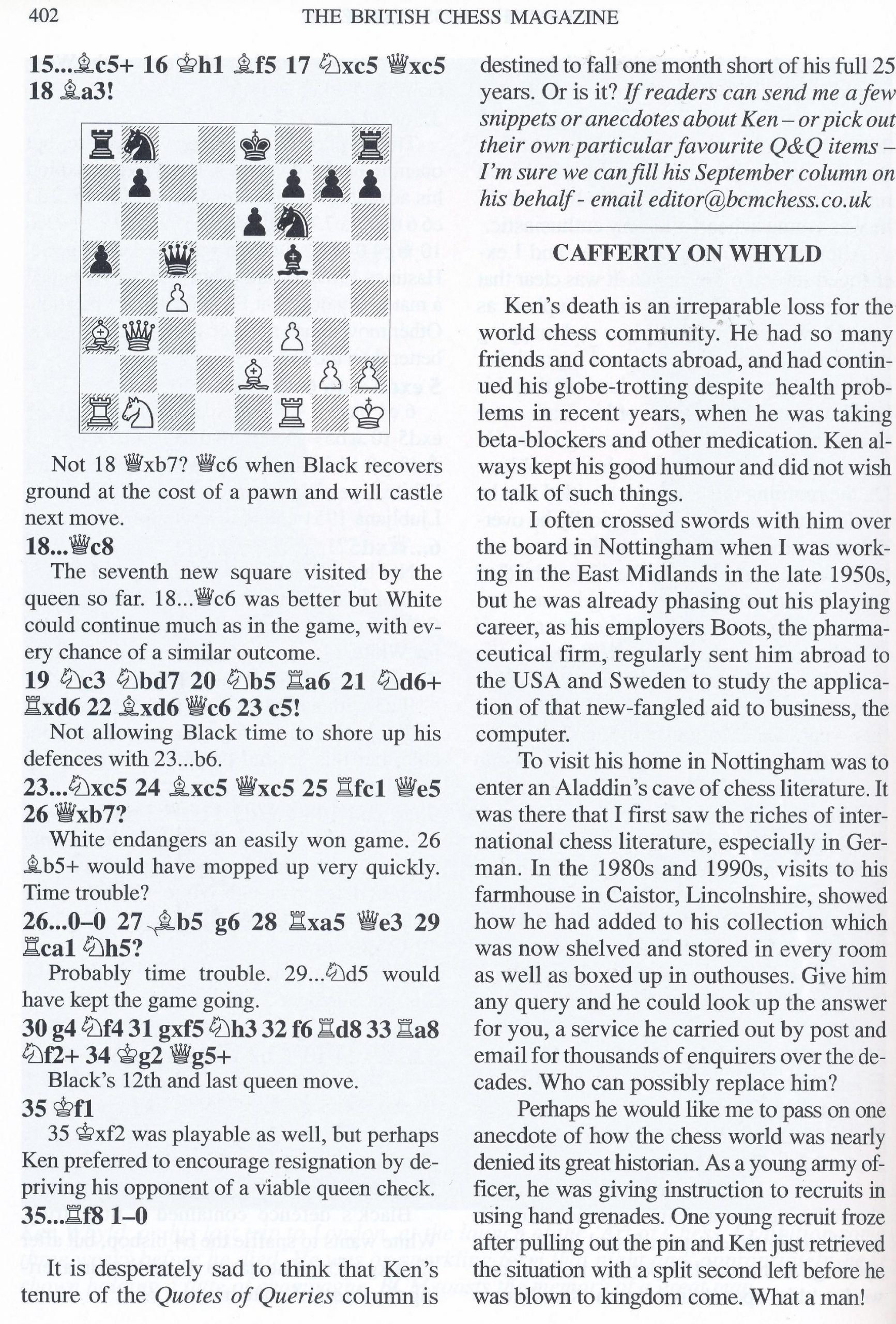 Ken Whyld Remembered from British Chess Magazine, Volume CXXIII (123), Number 8 (August), page 402 by Editor, John Saunders and Bernard Cafferty