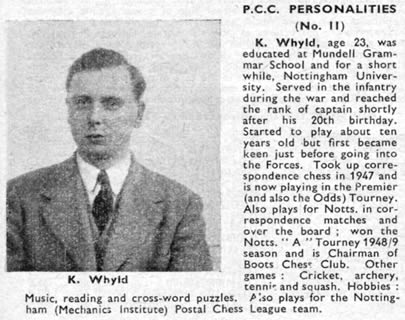 Ken Whyld from CHESS magazine, January 1950. courtesy of the Ken Whyld Association