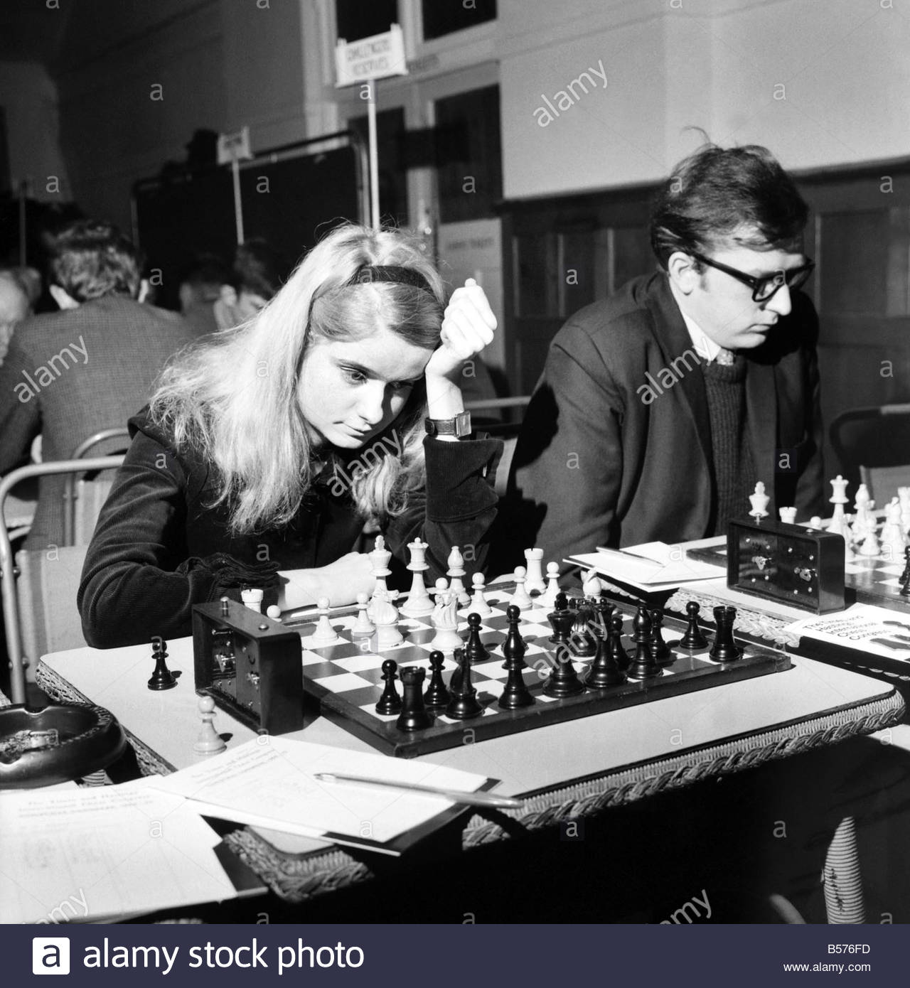 "The Annual International Chess Championship opened today at Hasting. Dinah ""Dobson,"" ""23,"" of Northwood Middlesex. December 1969"