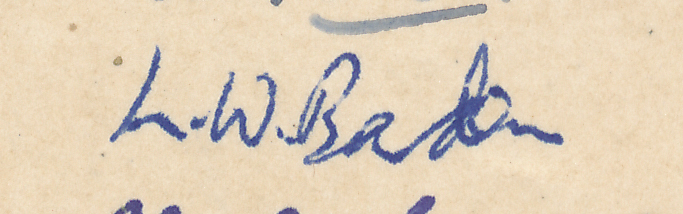 "Signature of LW Barden from a Brian Reilly ""after dinner"" postcard from Southsea 1951."