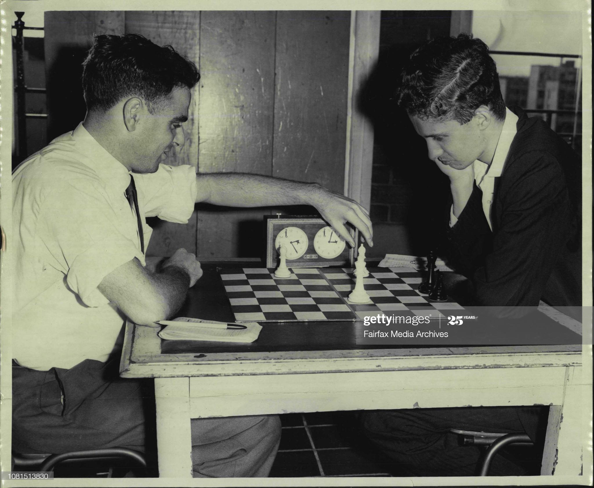 Tonight two Sydney ***** the N.S.W. Chess Championship at the Chess centre Liverpool St., City. They are Fred E Flatow, 28 of Belmore (left.) and Max Fuller, 21, of Kingsgrove (right). They have been playing for about 10 Hrs up till 6.15 p.m. and had move 121. The match will go on till move 144 at which stage a draw will be declared or until either man wins before then. February 23, 1966. (Photo by Richard John Pinfold/Fairfax Media via Getty Images).