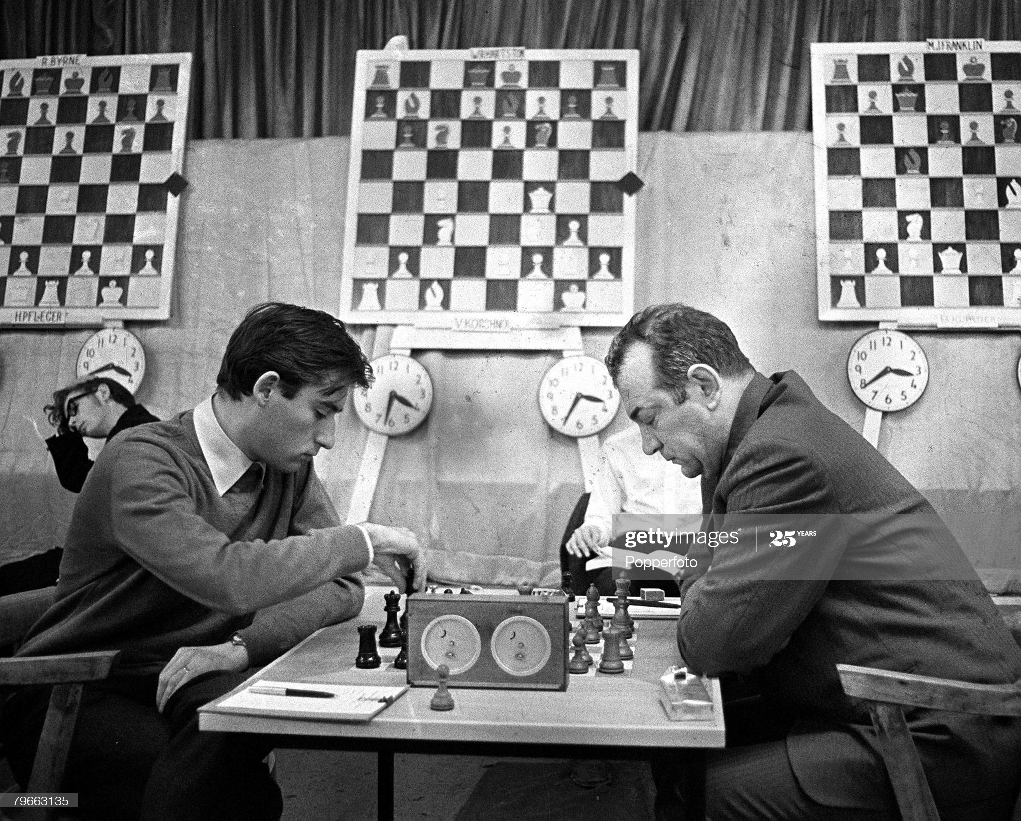 Hastings, England, 4th January 1972, Chess, Russian Grand Master Viktor Korchnoi (right) is pictured in a match with William Hartston (UK) during the 47th Hastings International Chess Tournament  (Photo by Popperfoto via Getty Images/Getty Images