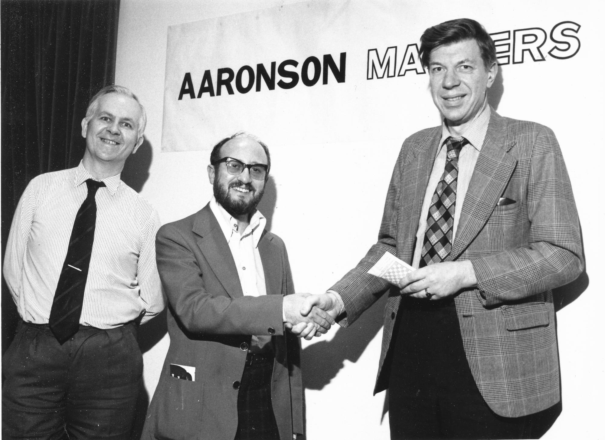 Leonard Barden, Stewart Reuben and Michael Franklin at the 1978 Aaronson Masters