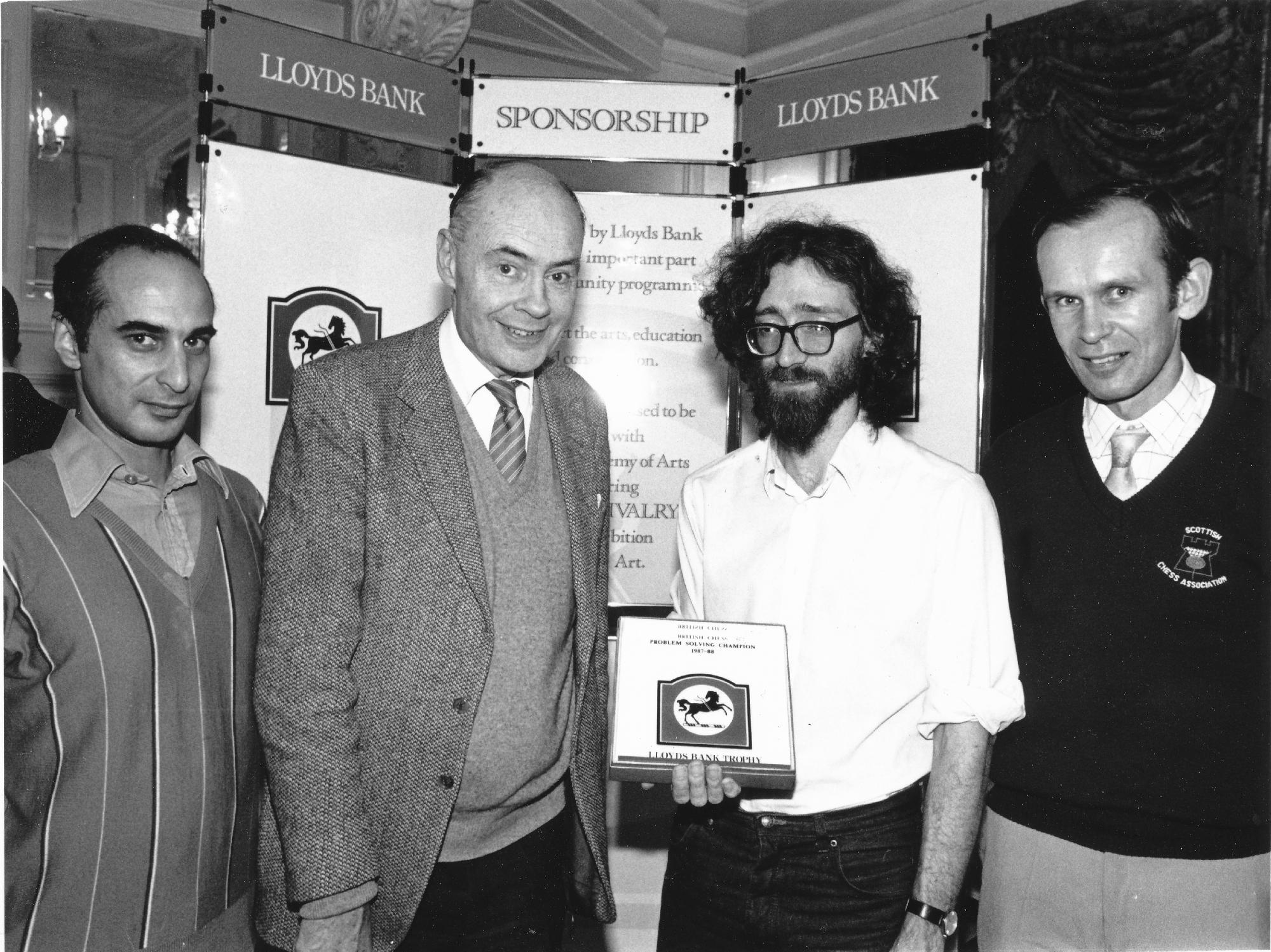 Winners of the Lloyds Bank 1987-8 British Solving Championships: (l-r) David Friedgood (runner-up), Sir Jeremy Morse, Jonathan Mestel (winner) and Jonathan Lennox (third-place)