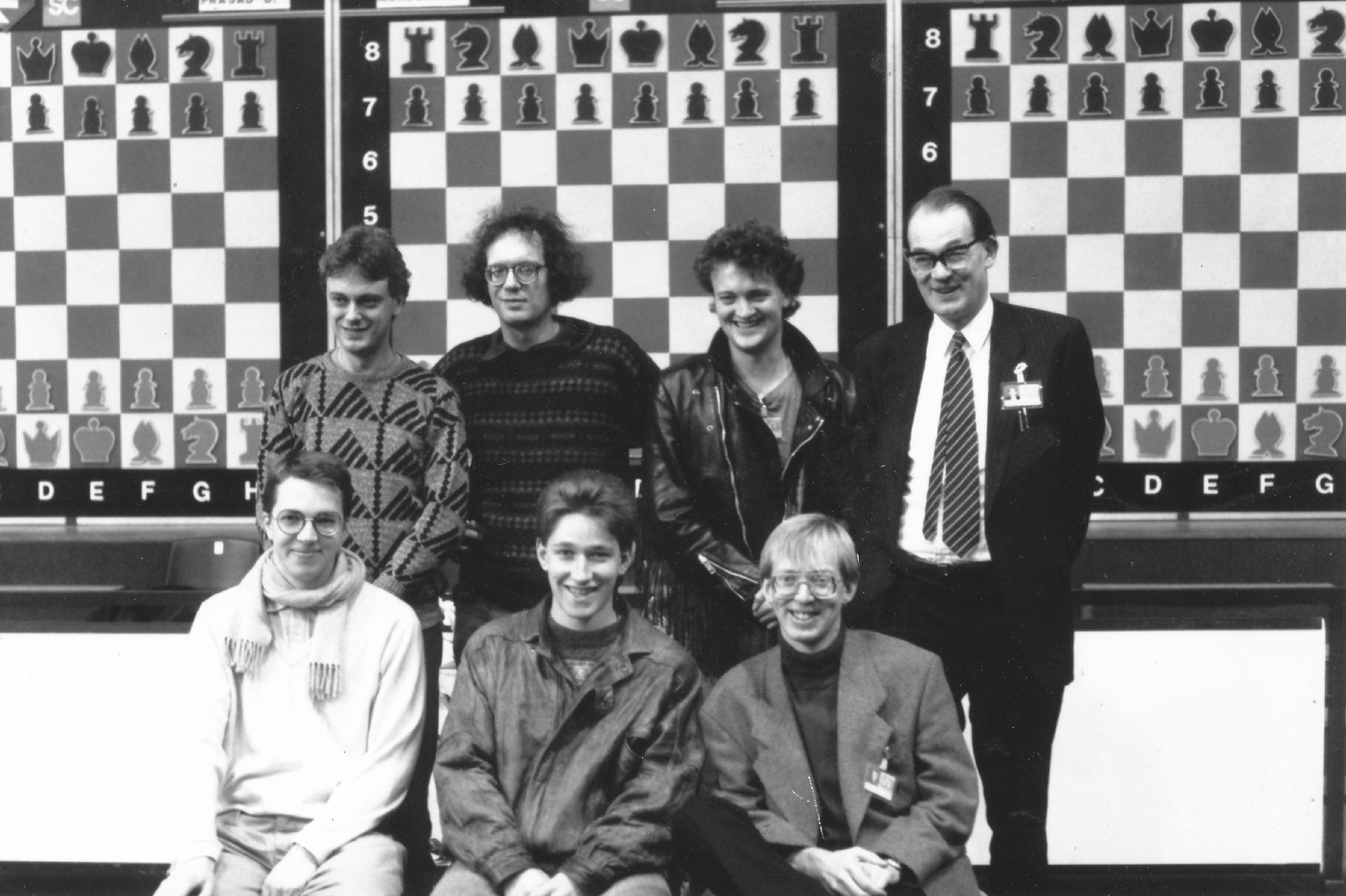 The England Team from the 1990 Novi Sad Olympiad : John Nunn, Jon Speelman, Julian Hodgson, David Anderton OBE (Captain), Nigel Short, Michael Adams and Murray Chandler