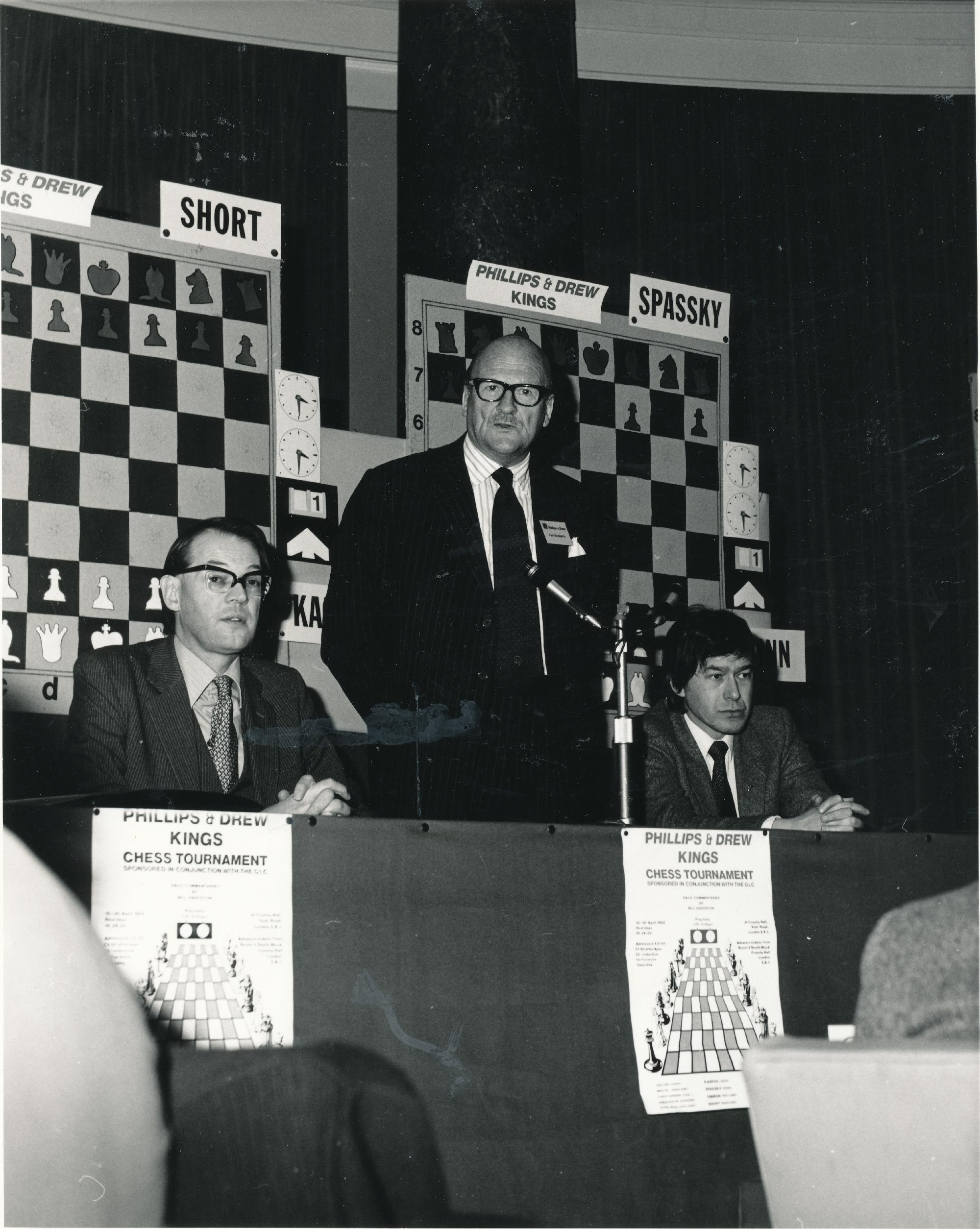 David Anderton OBE, Paul Bazalgette (Senior Partner at Philips & Drew)  and Tony Banks (GLC Arts & Recreation Department) at the 1982 Philips and Drew Kings Tournament Opening Ceremony. Photograph by Clive Field