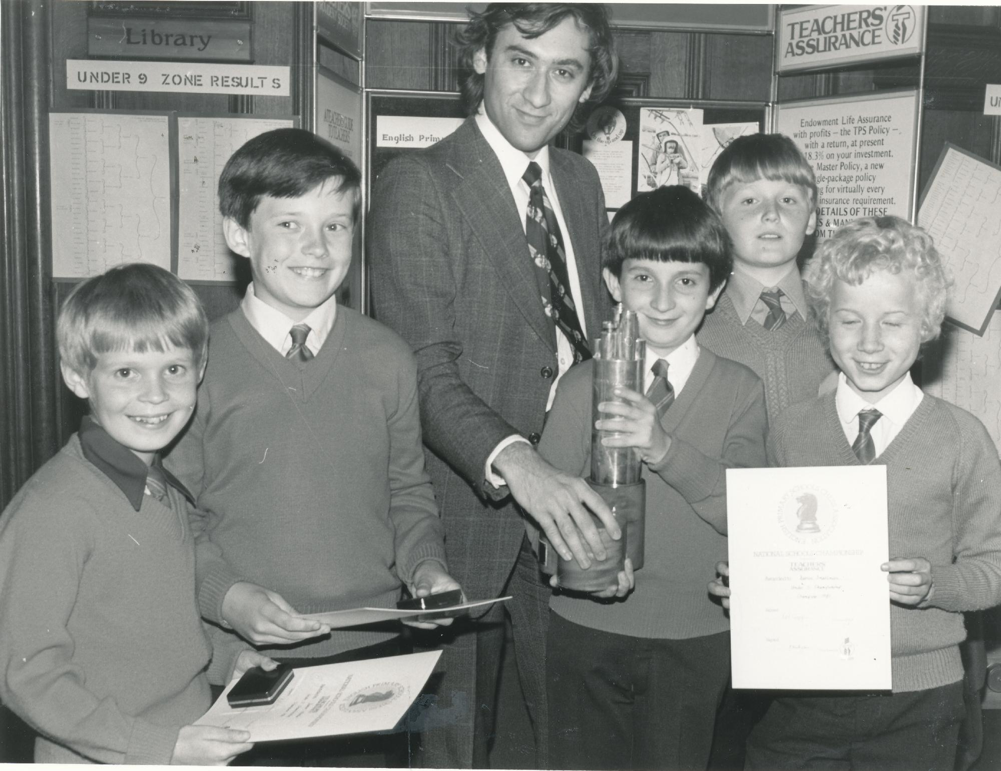 Bill was always a keen supporter of junior chess. Here at the Teachers Assurance National Schools Championships in 1980