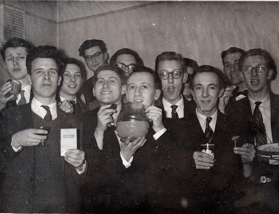 David at Stewart Reuben's 21st, on Stewart's right (Stewart has the jug) - March 1960. Photograph sourced from ECF Obituary