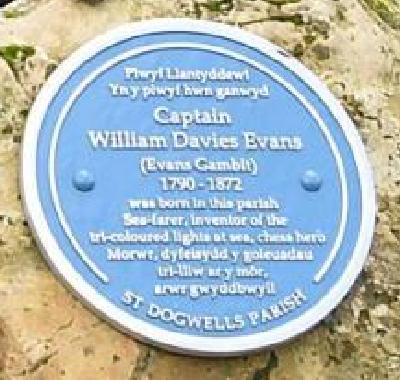 Blue Plaque for Captain William Davies Evans (27-i-1790 03-viii-1872)