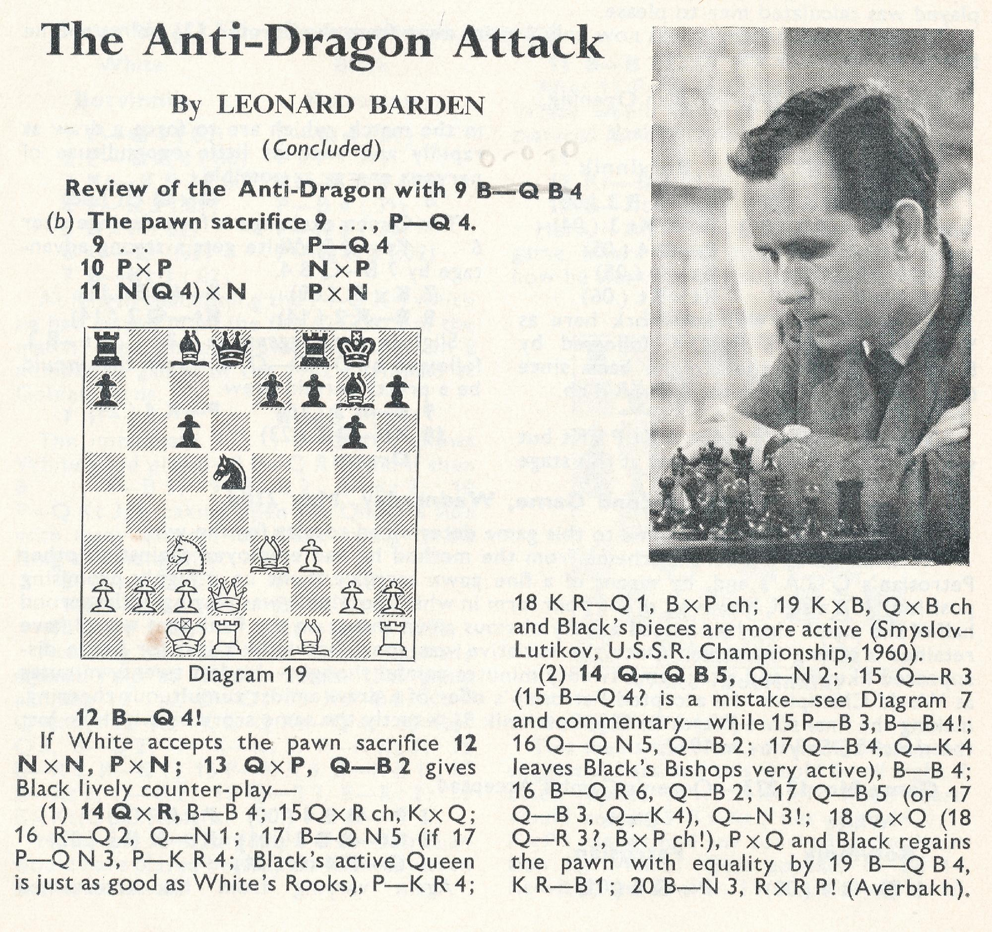 Leonard authored a series of articles on what was to become the Yugoslav Attack versus the Sicilian Dragon. Source : British Chess Magazine, Volume LXXXIII, Number 7 (July), page 208