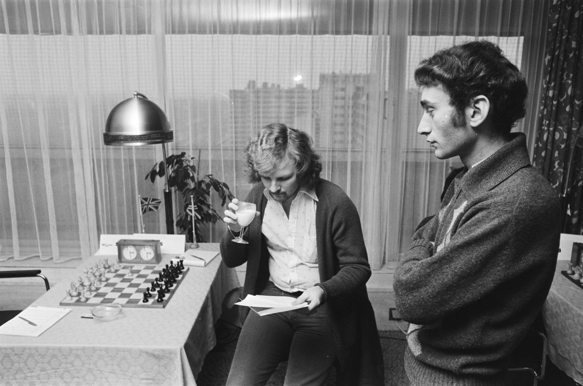 Tony Miles and Michael Stean at the FIDE Zonal in Amsterdam, 1978. (Source: http://gahetna.nl)