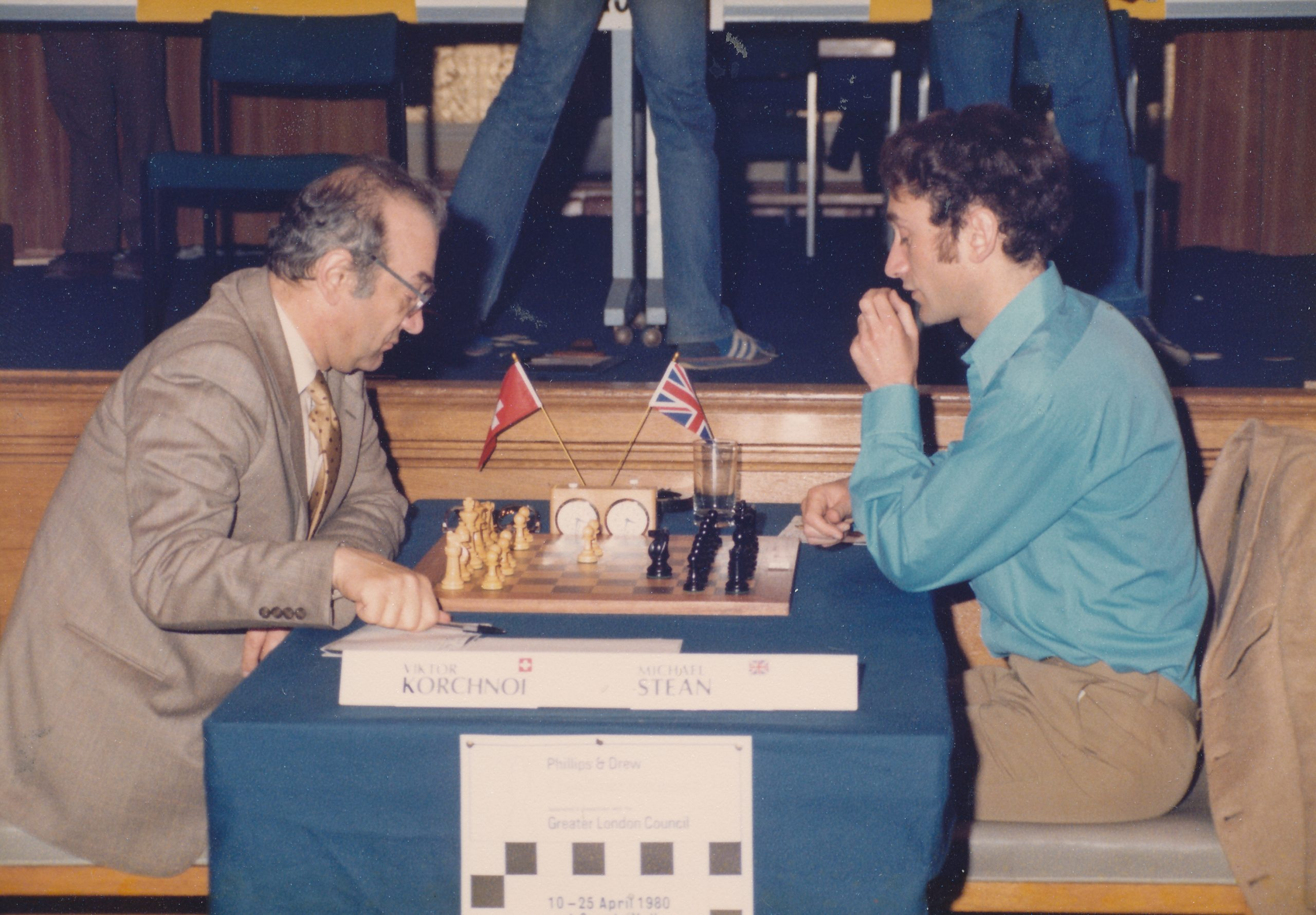 Korchnoi vs Stean at the Philips & Drew Masters of 1980. The game was drawn in 19 moves.
