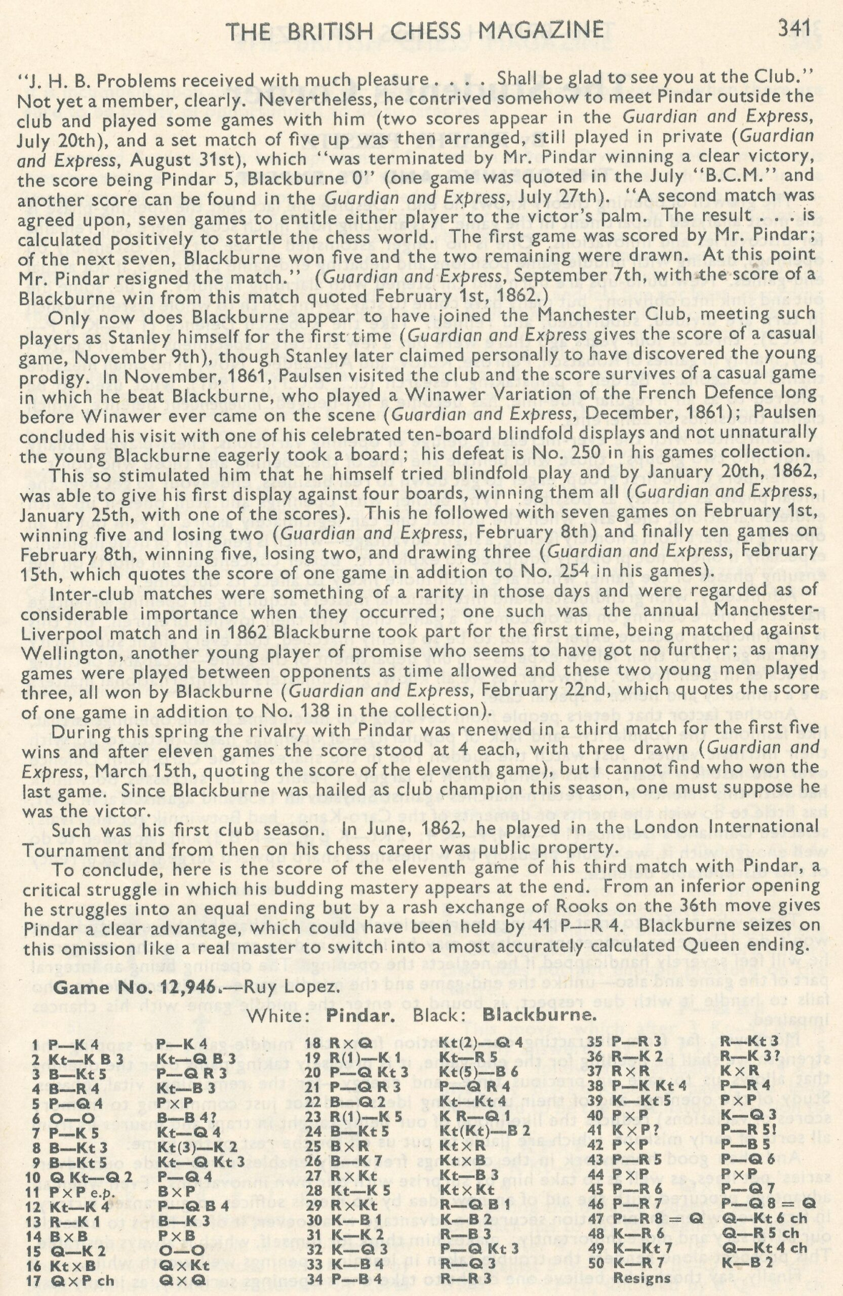 British Chess Magazine, Volume LXXX1 (1961), Number  12 (December), page 341
