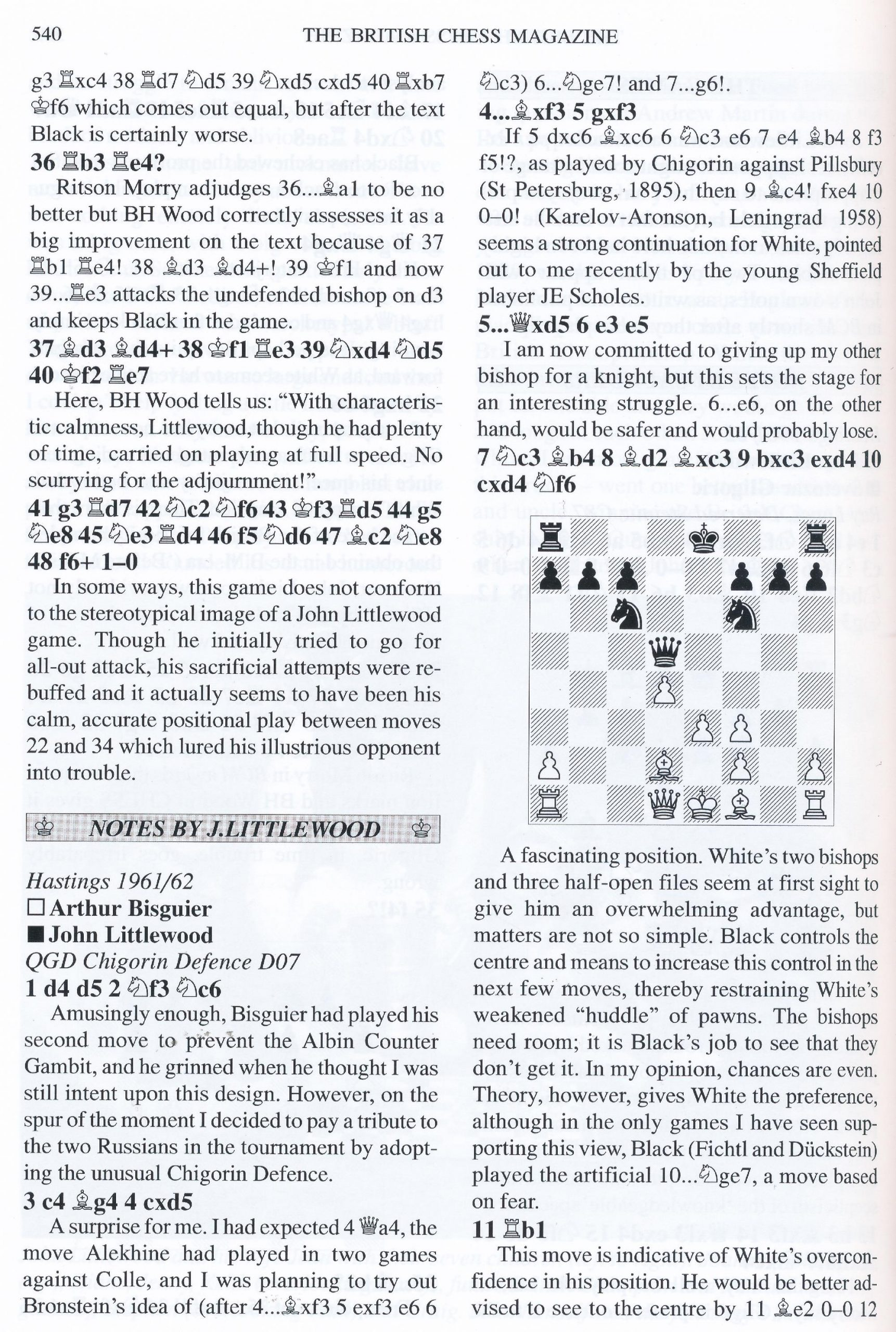 British Chess Magazine, Volume CXXIV (129), 2009, Number 10, October, page 540