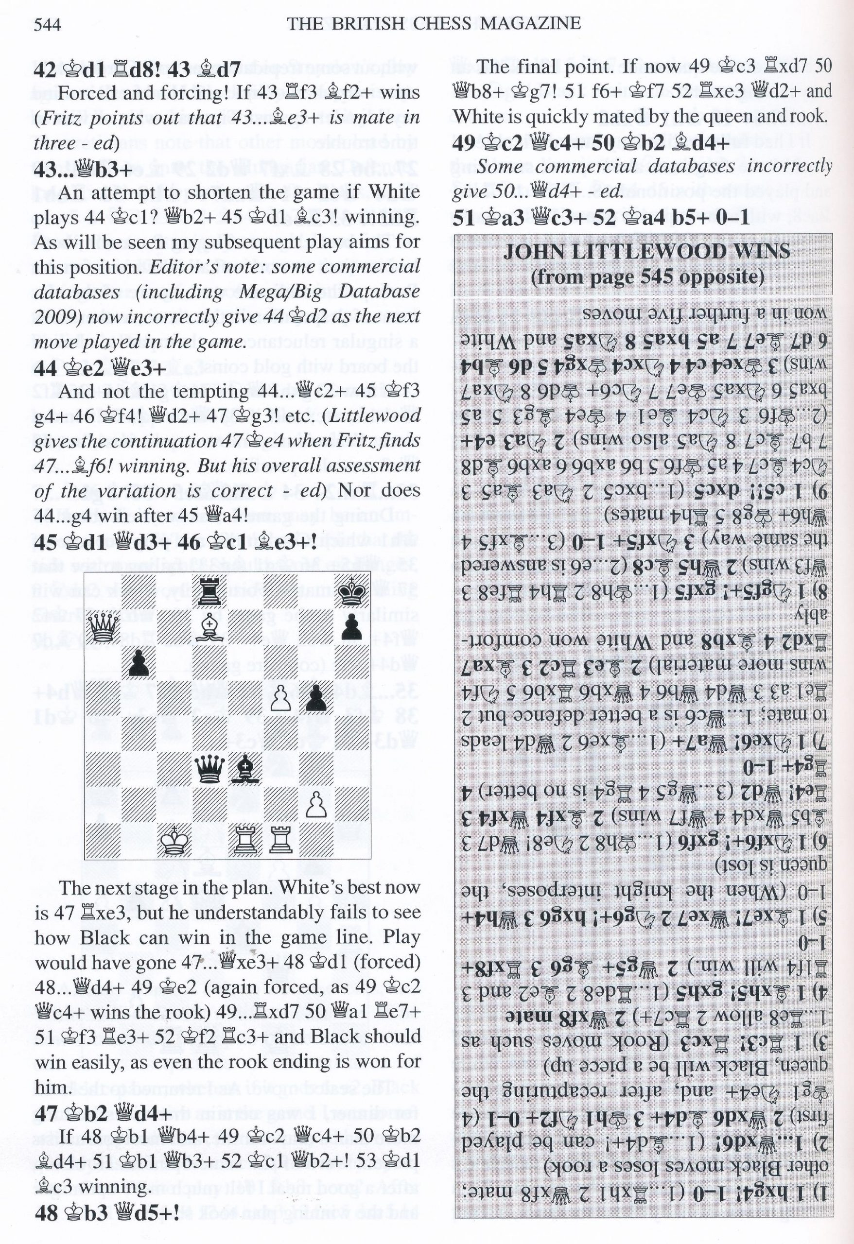 British Chess Magazine, Volume CXXIV (129), 2009, Number 10, October, page 544