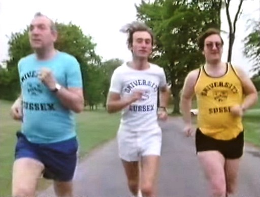 Korchnoi, Stean and Keene try out matching vests and T-shirts from The University of Sussex sports centre, Falmer, East Sussex. It is likely that the yellow one was only worn for this press photo shoot.