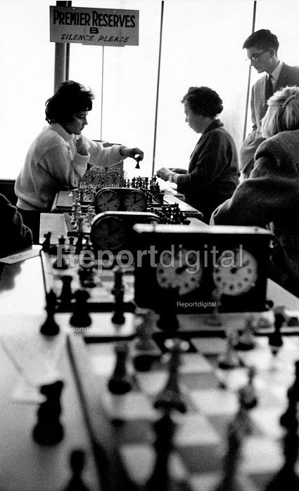 37th Hastings International Chess Congress, 1962. USA Ladies champion Lisa Lane (L) playing against British Champion Eileen Tranmer