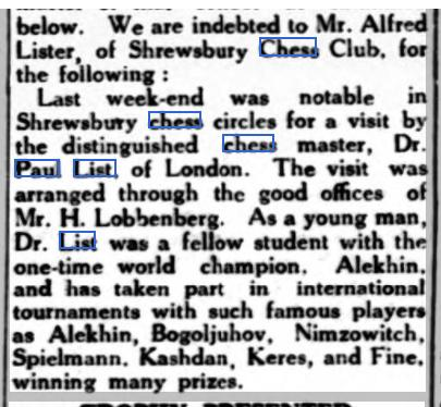 Item from Kington Times - Saturday 02 June 1951 regarding the visit of Dr. List