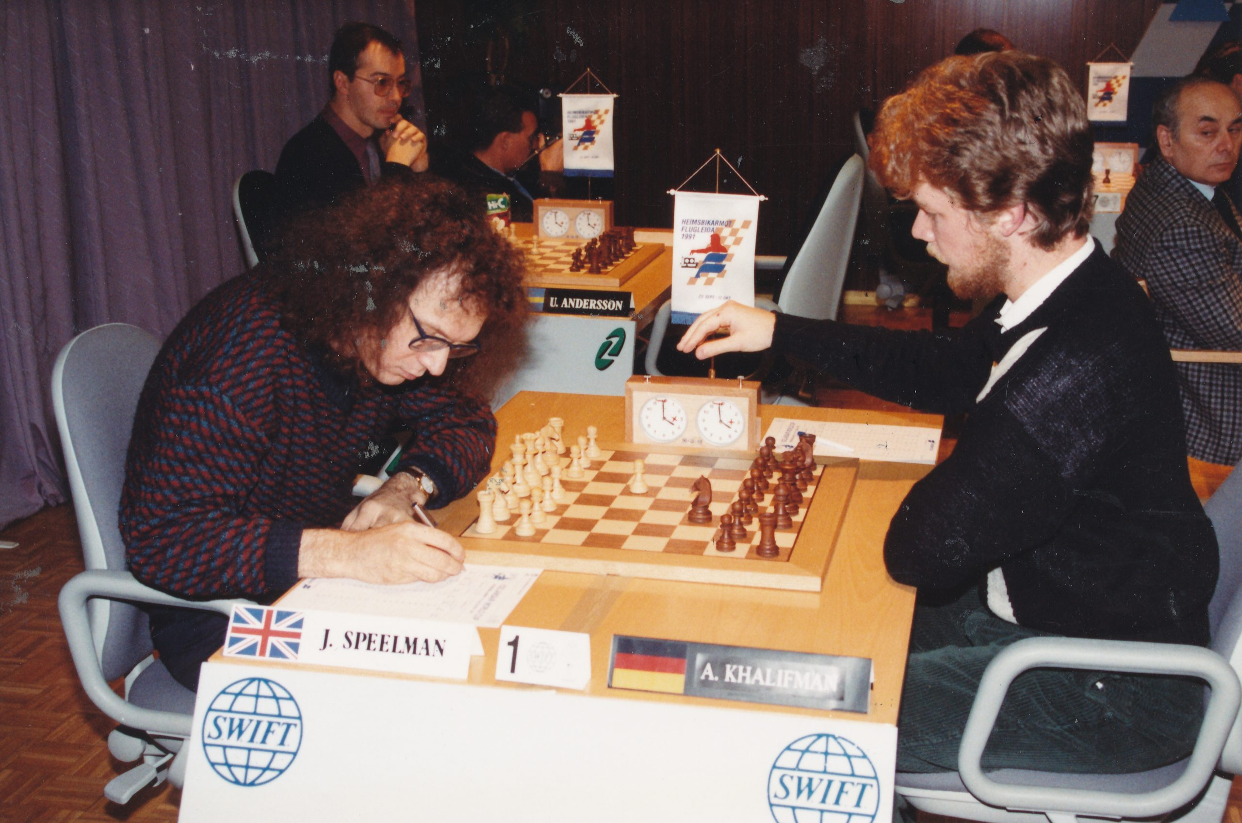 JS plays Alexander Khalifman during the SWIFT World Cup in Reykjavik, 1991. The game was drawn