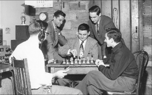 The Columbia College chess team of 1949–1952 after a radio match with Yale. Right to left: James Sherwin, Eliot Hearst, Carl Burger, Francis Mechner (Courtesy of the Columbia University Archives).
