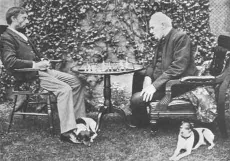 Amos Burn (left) and Rev. John Owen circa 1885.