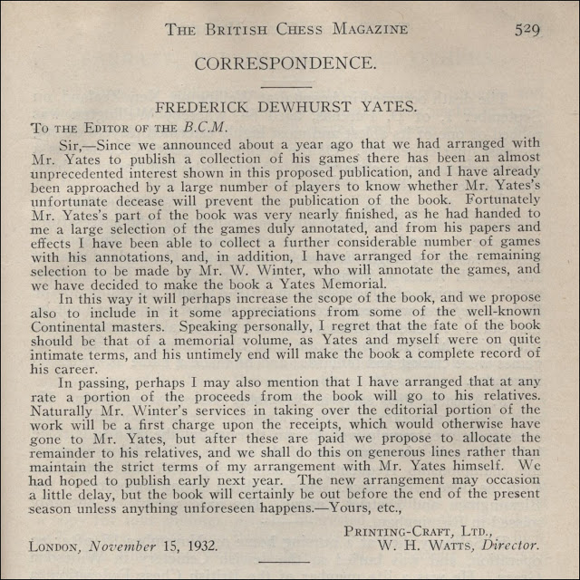 Letter to BCM from WH Watts of Printing Craft Limited announcing the publication of One-Hundred-and-one of my Best Games of Chess, by F. D. Yates, London 1934.