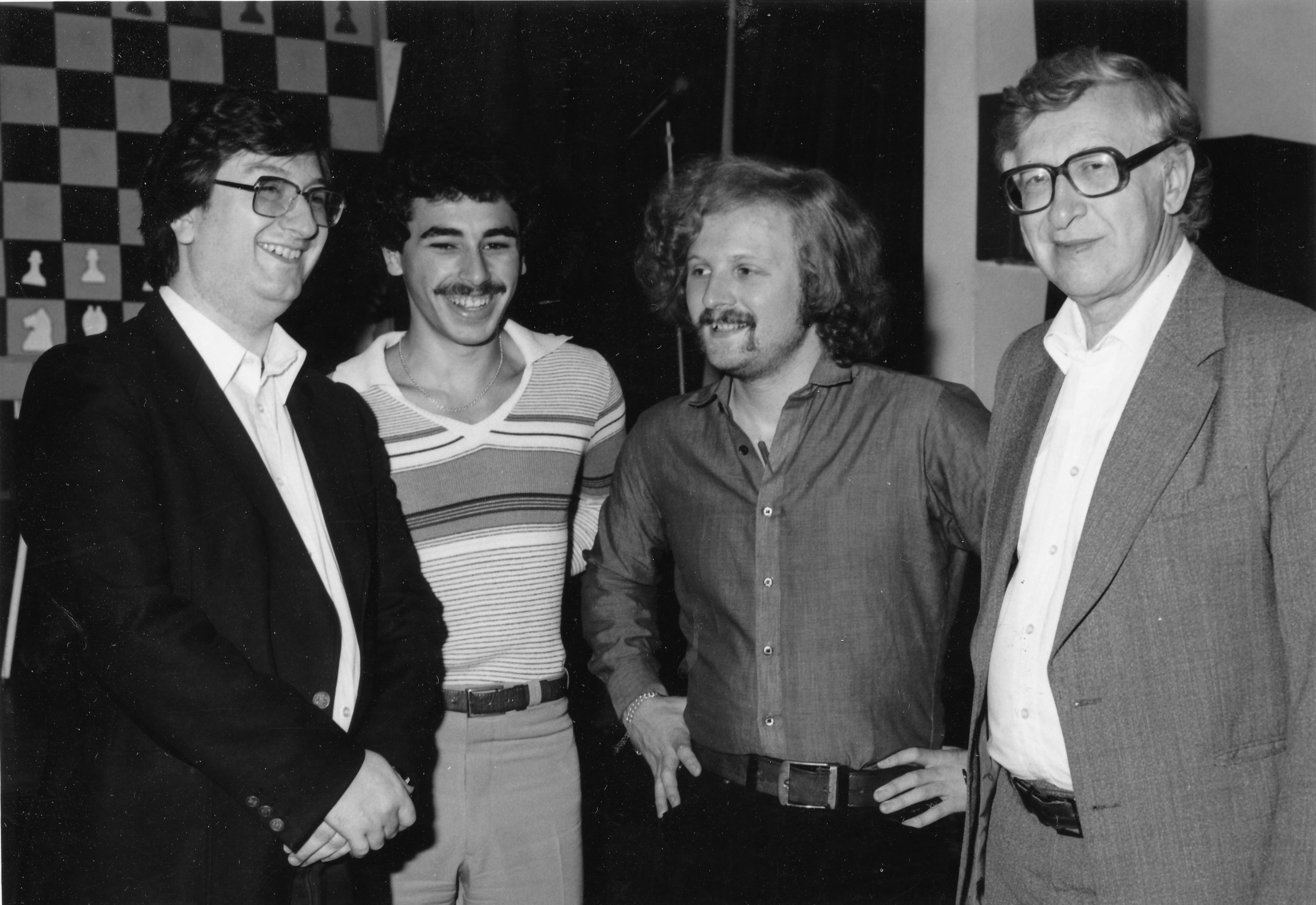 Tony at a Lloyds Bank event with Ray Keene, Yasser Seirawan and Vassily Smyslov