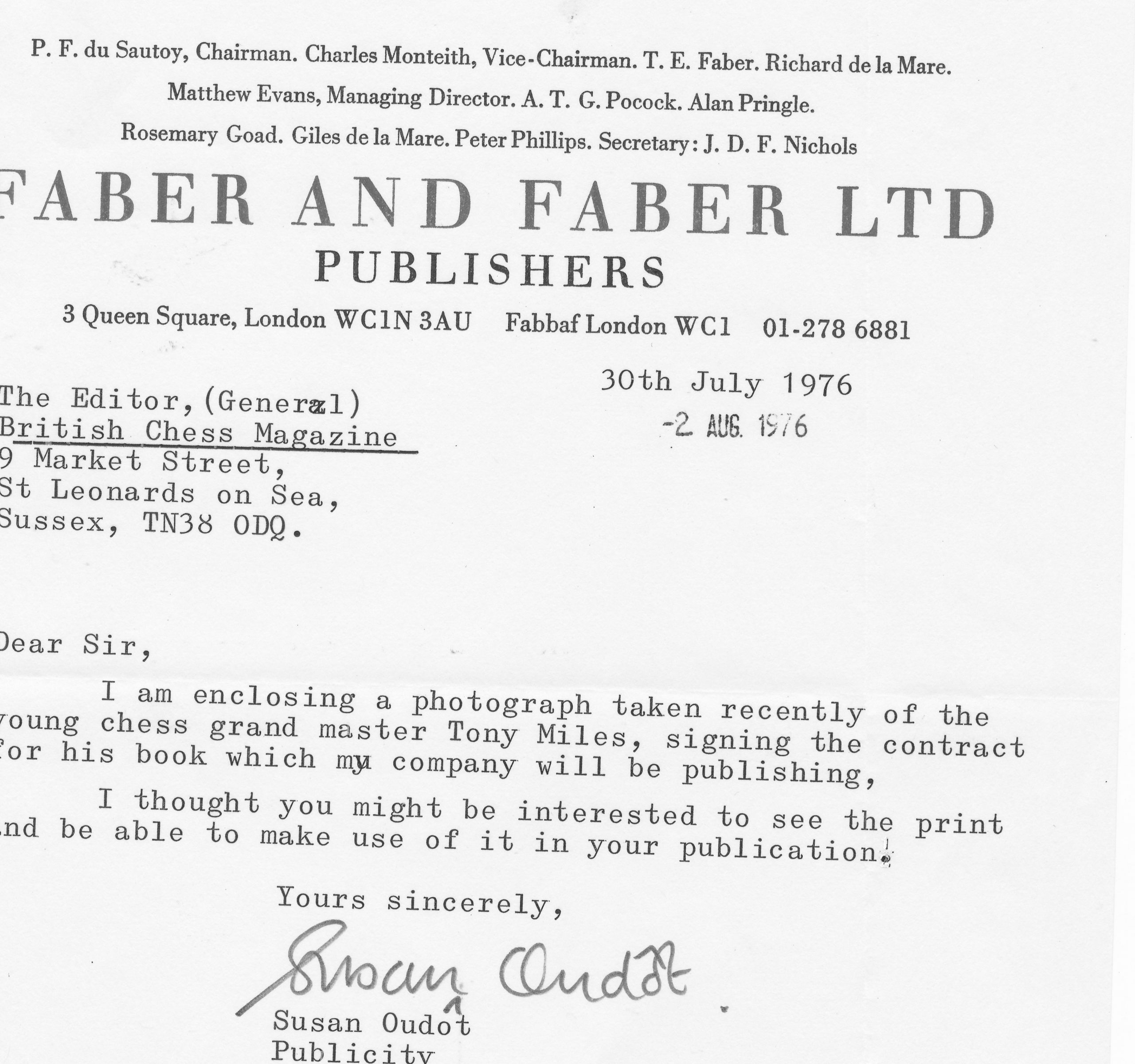 Accompanying letter for above photograph