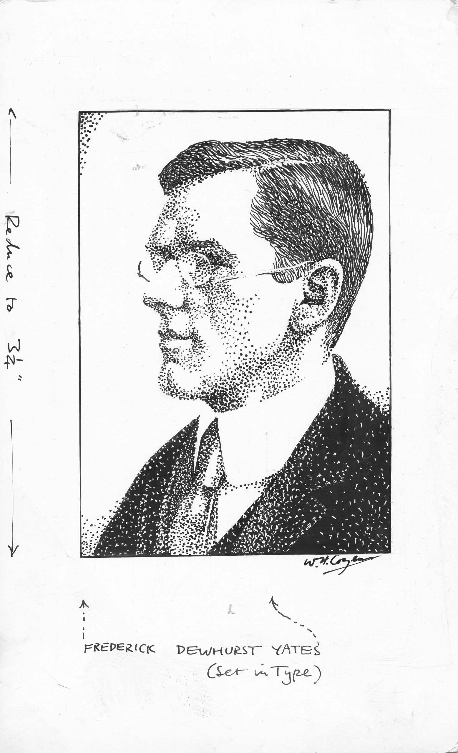 Fred Yates as drawn by WH Cozens for BCM