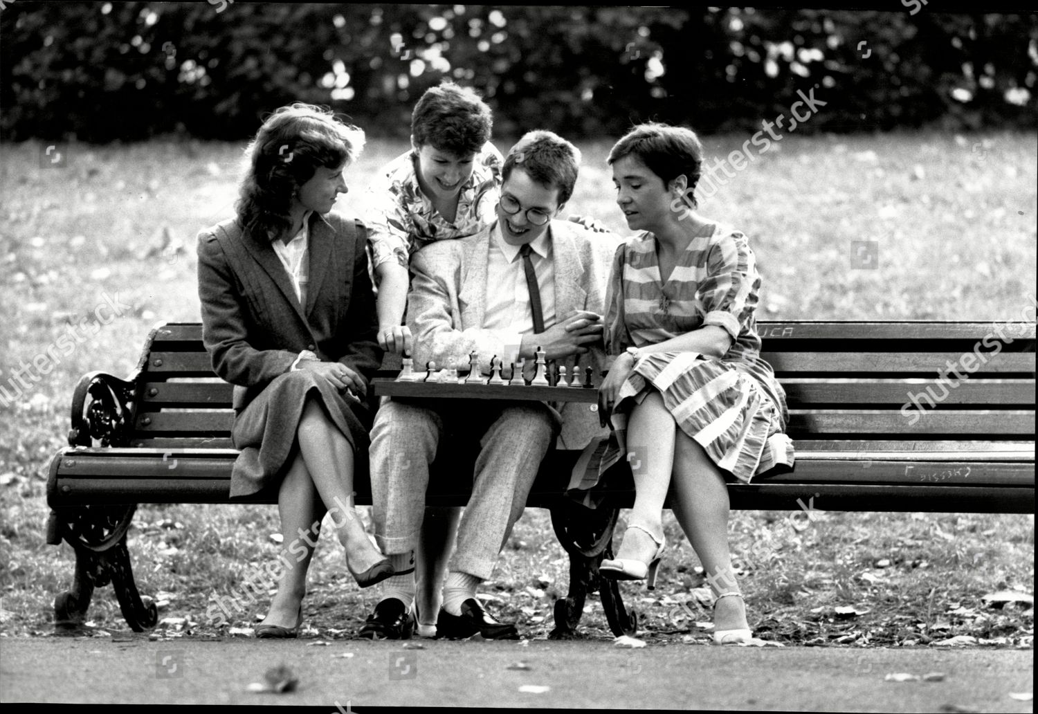 British Speed Chess Championship Grandmaster Nigel Short Playing Chess In The Park With L-r Susan Arkell Sheila Jackson And Dr Jana Miles. Courtesy of Shutterstock