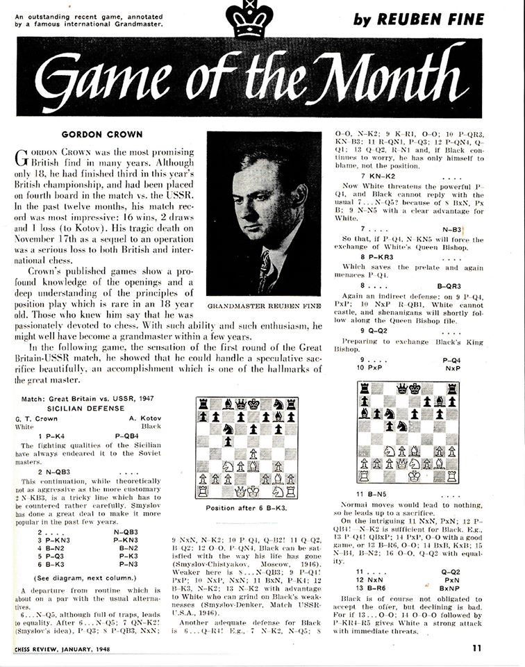 Chess Life article about Gordon Thomas Crown, Part One