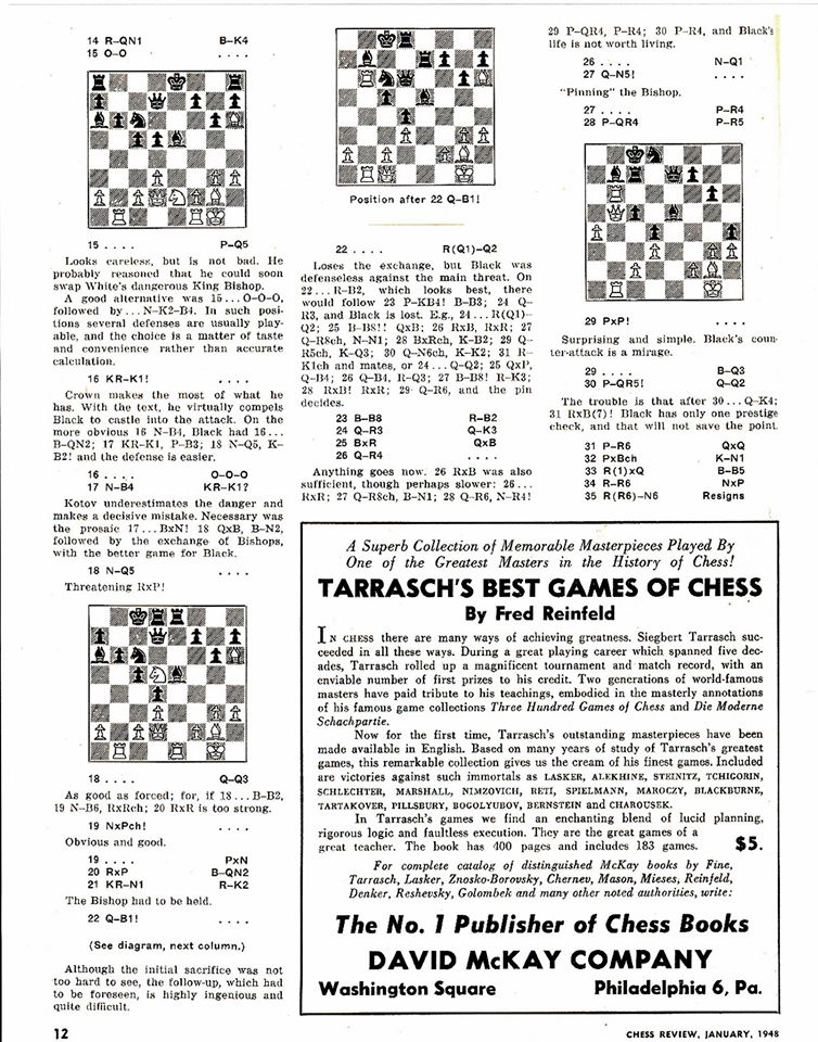 Chess Life article about Gordon Thomas Crown, Part Two