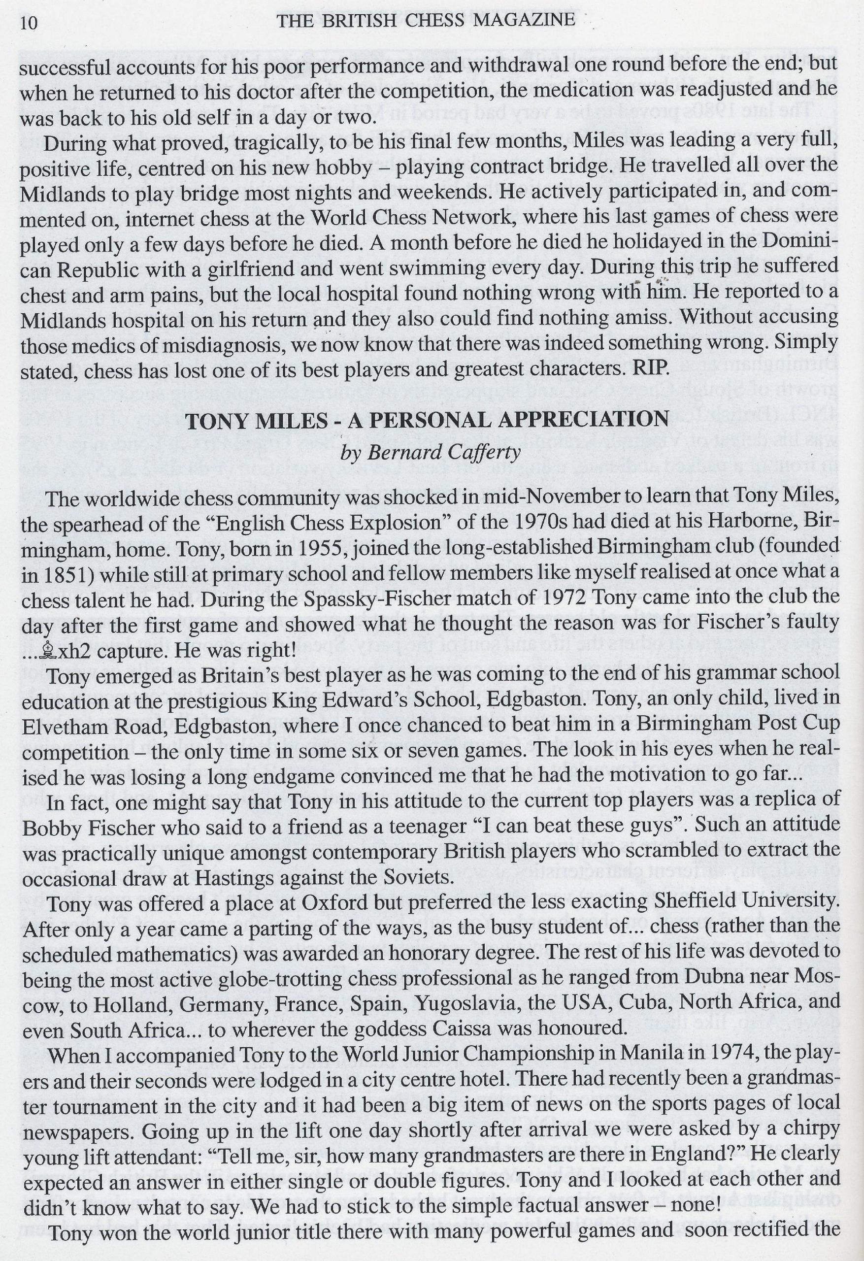 British Chess Magazine, Volume CXXII (122, 2002), Number 1 (January) pp. 6-13