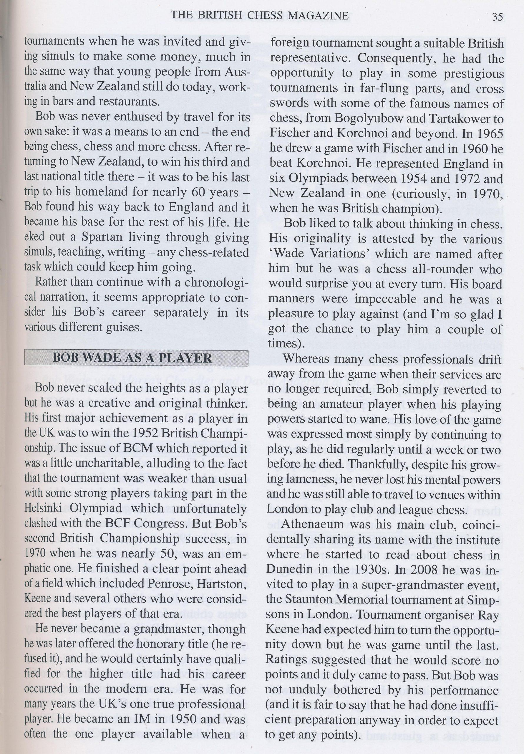 British Chess Magazine, Volume CXXIX (129, 2009), #1 (January), pp. 34-43