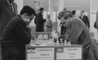 Borislav Ivkov playing Peter Clarke at the 1960 Leipzig Olympiad. The game was a QGA which was drawn