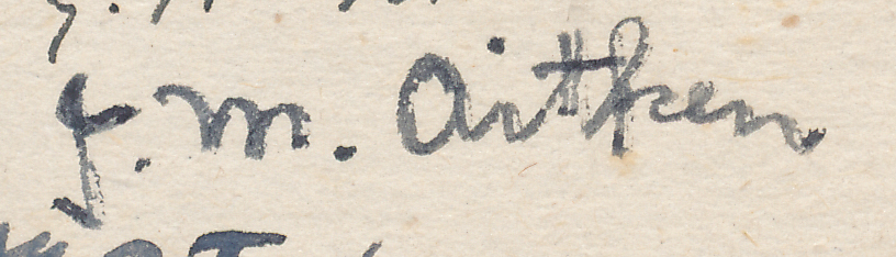 "Signature of JM Aitken from a Brian Reilly ""after dinner"" postcard from Hastings Christmas Congress, 1945-1946"