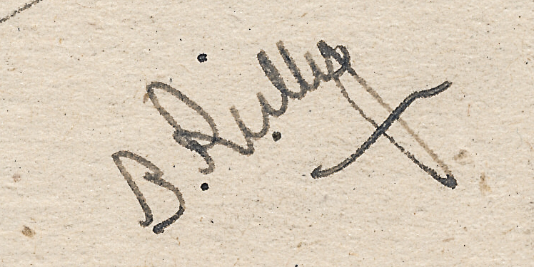 Signature of Brian Reilly from an after dinner post card from Hastings 1945-46
