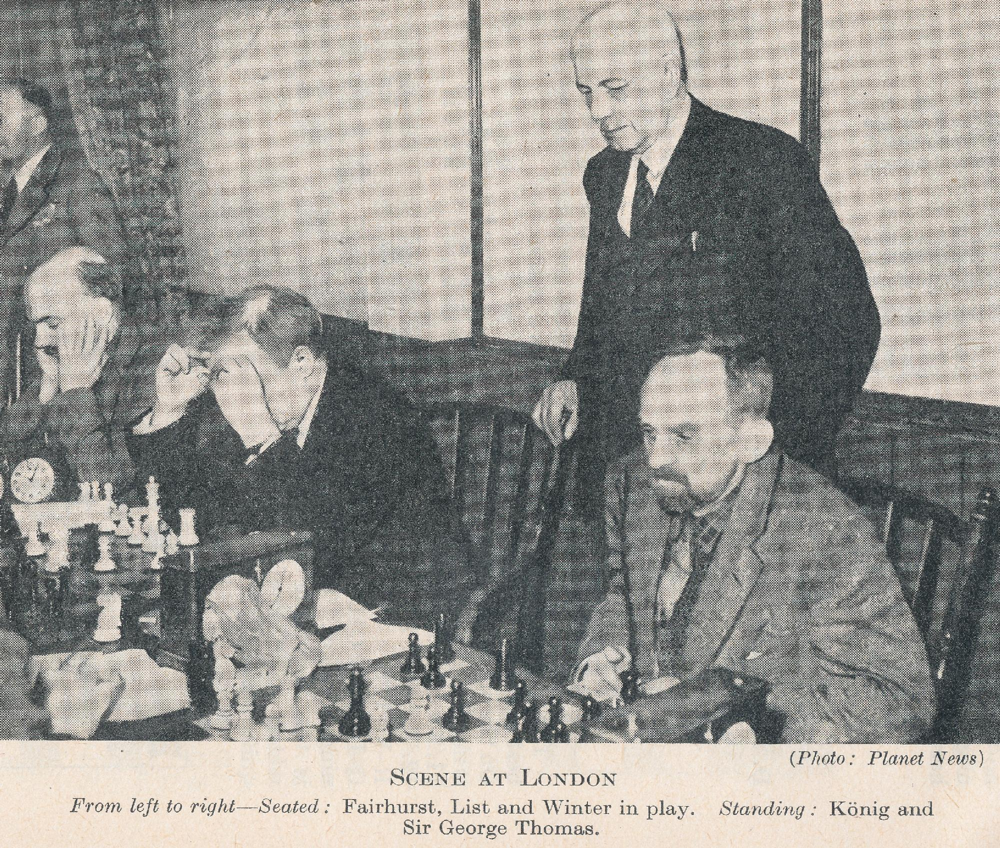 Scene at London. From left to right - Seated : Fairhurst, List and Winter in play. Standing König and Sir George Thomas