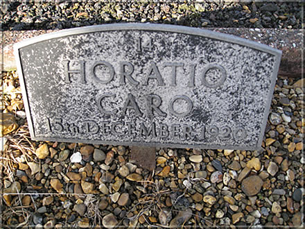 Grave marker for Horatio Caro. Photograph from Gordon Cadden to Ken Whyld Assocation