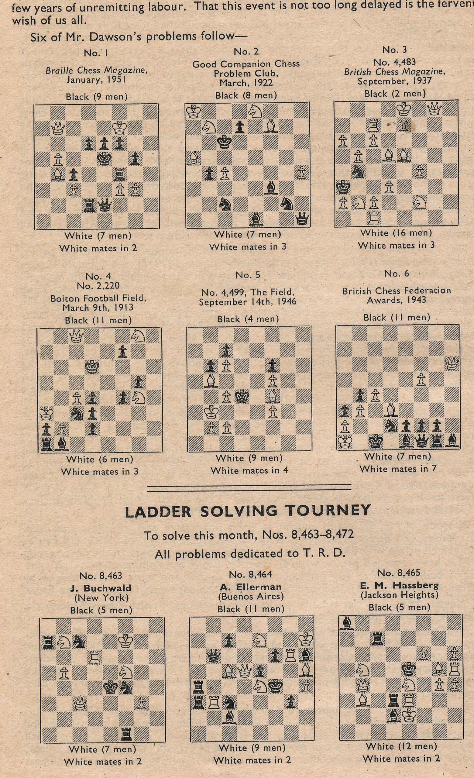 British Chess Magazine, Volume LXX1 (71, 1951), Number 3 (March) p8 77 - 80.