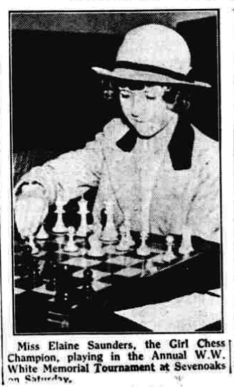 Miss Elaine Saunders, the girl chess champion playing in the annual WW White Memorial Tournament in Sevenoaks. on June 25th 1939. Source : https://www.chessmarginalia.com/miss-elaine-saunders/