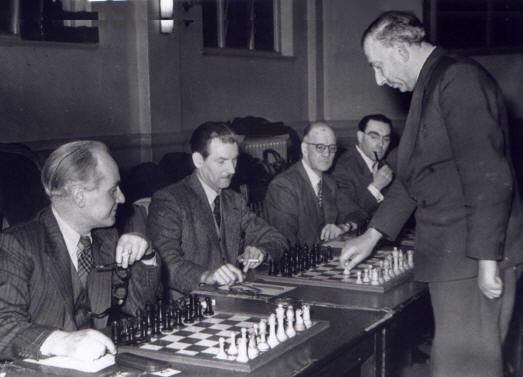 Harry Golombek simultaneous display at Hull Chess Club. Year and photographer unknown